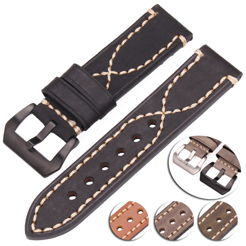Cowhide Watchbands 22mm 24mm Genuine Leather Watch Strap Band Accessories Bracelet Black Buckle For Panerai eache 20mm 22mm 24mm 26mm genuine leather watch band crazy horse leather strap for p watch hand made with black buckles