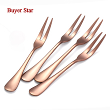 10pcs 18/10 Stainless Steel Fruit Forks for Restaurant Cafeteria Home Party Two-tine Dessert Salad Fork Cutlery Cake Flatware