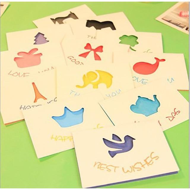 12pcs Lot Cartoon Mini Greeting Card Postcard Thank You Card