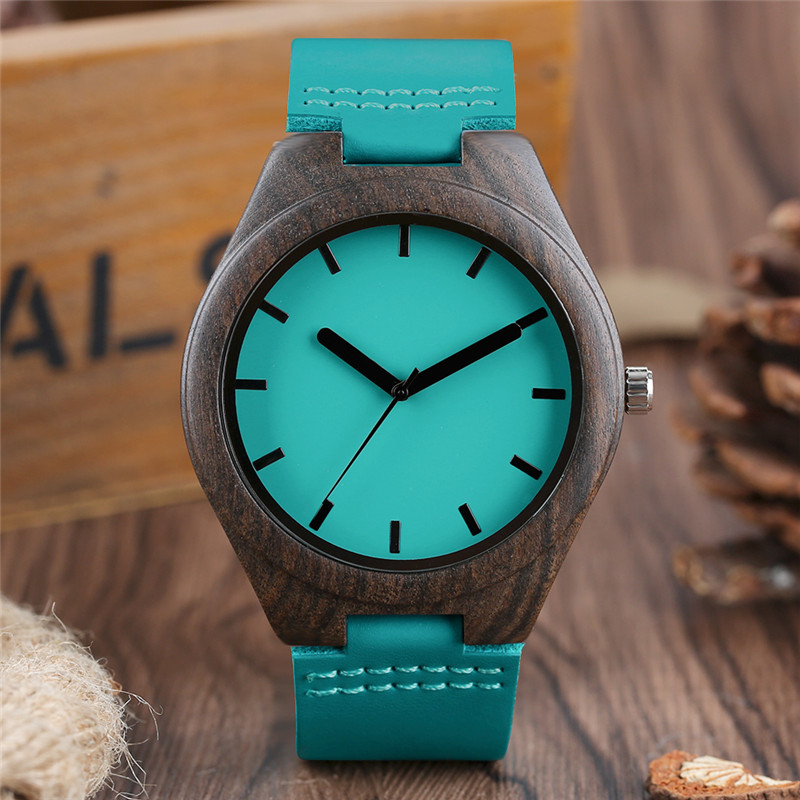 Creative Blue Fashion Men's Quartz Wristwatch Simple Design Dial Genuine Leather Band Sandalwood Case Casual Fashion Male Watch simple fashion hand made wooden design wristwatch 2 colors rectangle dial genuine leather band casual men women watch best gift