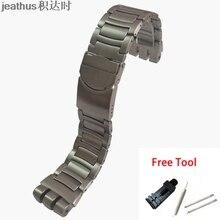 Jeathus repuesto de correa de acero para reloj, YOS440, 441, 439, 455, 456, pulsera de acero inoxidable sólido, banda de reloj de 23mm