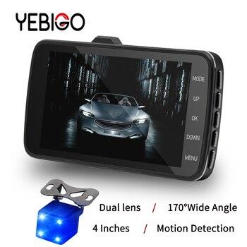 New YEBIGO Dual lens Car Camera Car DVR  Car Cam Dash Cam Full HD 1080P Dashcam Carcam  recorder video registrator 4.0 inch