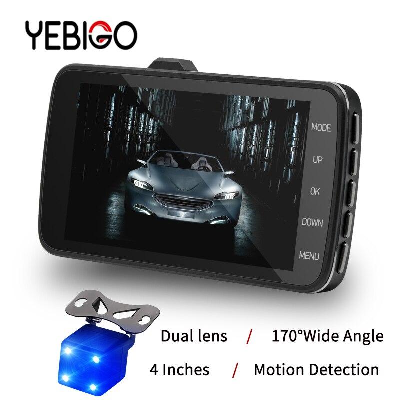 Nouveau YEBIGO double lentille voiture caméra voiture DVR voiture Cam Dash Cam Full HD 1080 P Dashcam Carcam enregistreur vidéo enregistreur 4.0 pouces