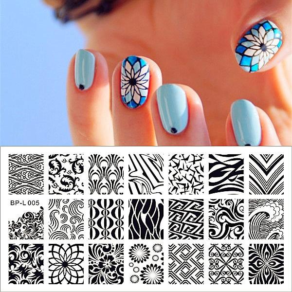 BORN PRETTY 1Pc 12.5 x 6.5cmWave Texture Patterns Nail Art Stamp ...