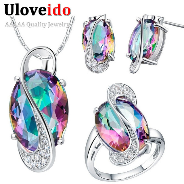 Uloveido Zircon Rainbow Wedding Jewelry Sets Earrings Necklace with Multicolor Stones Famous Silver Gifts for Women 49% off T472