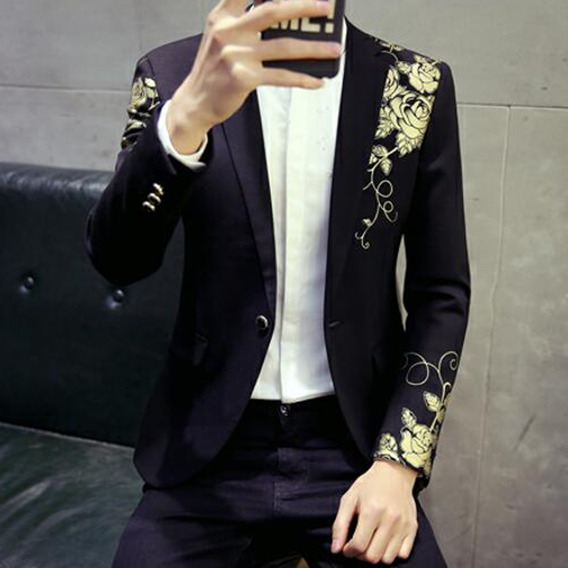 Mens Blazers Fashion Golden Rose Prints Single Button Slim Fit Jacket Casual British Style Gentleman Style Mens Blazer Size 2XL