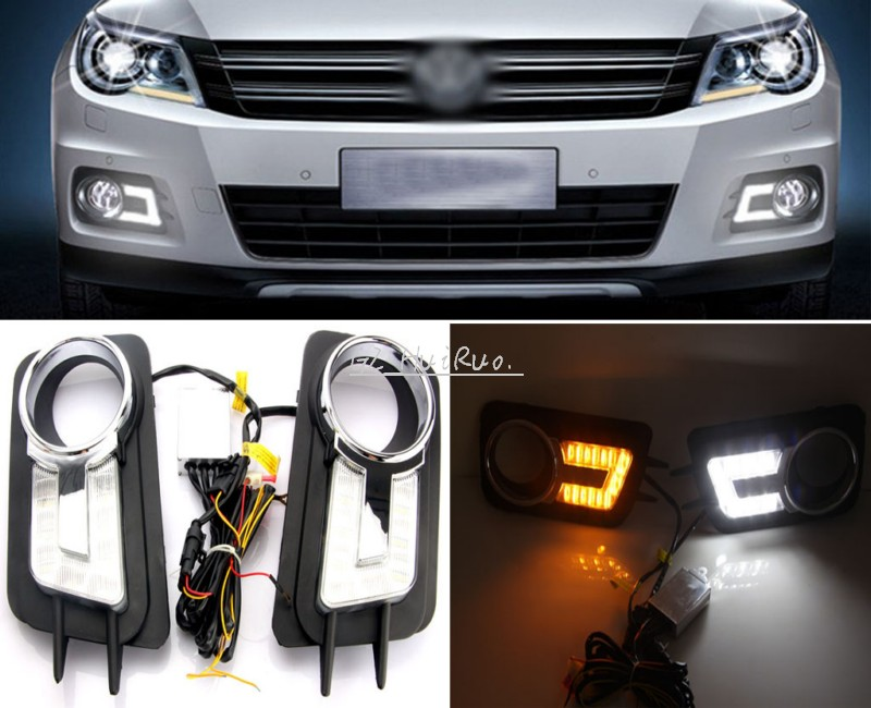 DRL LED front end foglamp mask day running lights fog lights grills led turning signal lamps for Volkswagen /VW Tiguan 2010-2012 sncn led daytime running lights for volkswagen vw passat cc 2010 2011 2012 2013 drl fog lamp with yellow turning signal lights