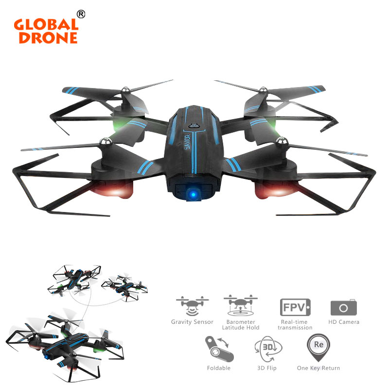 Global Drone 2.4G 4CH RC Helicopter Real Time Foldable Selfie Wifi FPV Drone with Camera High Hold Mode Quadcopter Dron