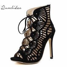 Rumbidzo Brand Women Pumps 2018 Casual Peep Toe Lace Up Cutouts High Heels Shoes Woman High Heel Gladiator Thin Heel Sapatos
