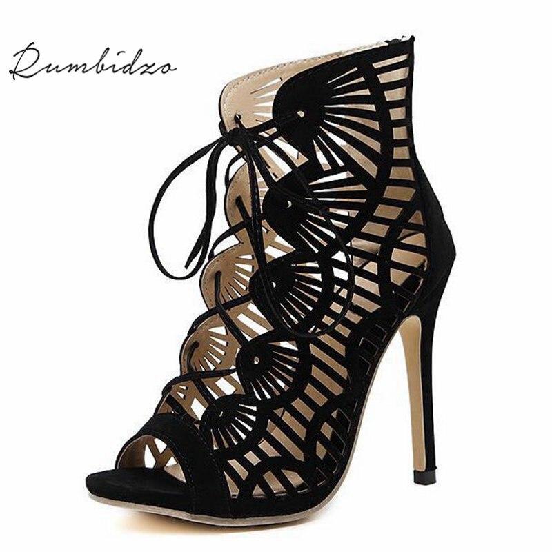 Rumbidzo Brand Women Pumps Casual Peep Toe  Lace Up Cutouts High Heels Shoes Woman High Heele Gladiator Thin Heel Sapatos цена и фото
