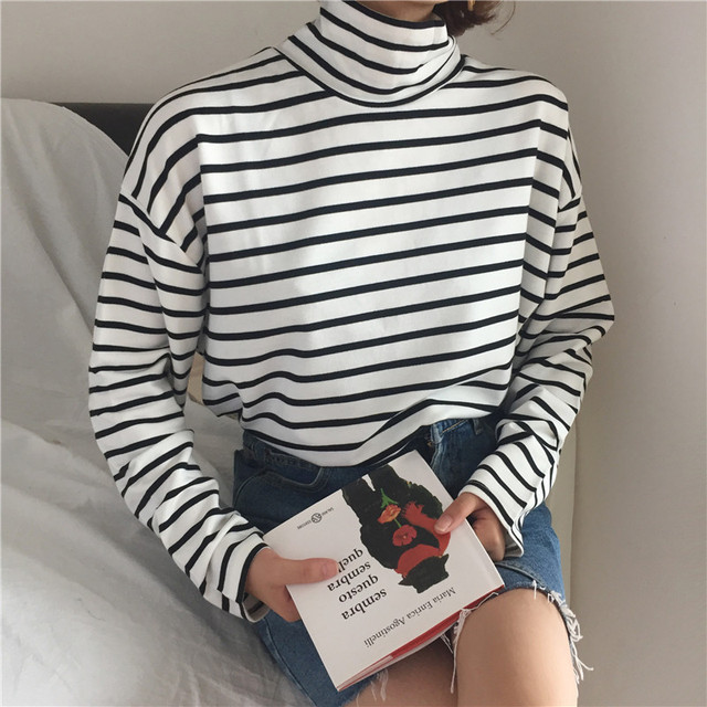 Autumn Casual Korea Fashion Hip Hop Stripe Turtleneck Long Sleeve Vintage Pullovers Loose Harajuku funny cute Striped Sweatshirt