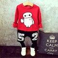 Meninos roupas de inverno do outono do algodão conjunto de roupas Com Capuz + calça 2-piece set terno crianças agasalho esporte outerwear bebê presente de natal