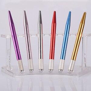 Image 2 - 20 pièces Aluminium Microblading stylo manuel Microblade porte aiguille Caneta Tebori Microblading Sobrancelha sourcil tatouage stylo
