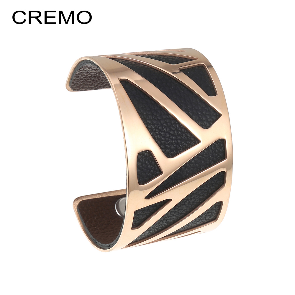 Cremo Reversible Bracelet & Bangle Opening Ribbon Cuff Leather Arm Cuff Bangle Geometry Stainless Steel 40mm Leather Bracelet victorian crystal wonderland cuff bangle bracelet ruby red