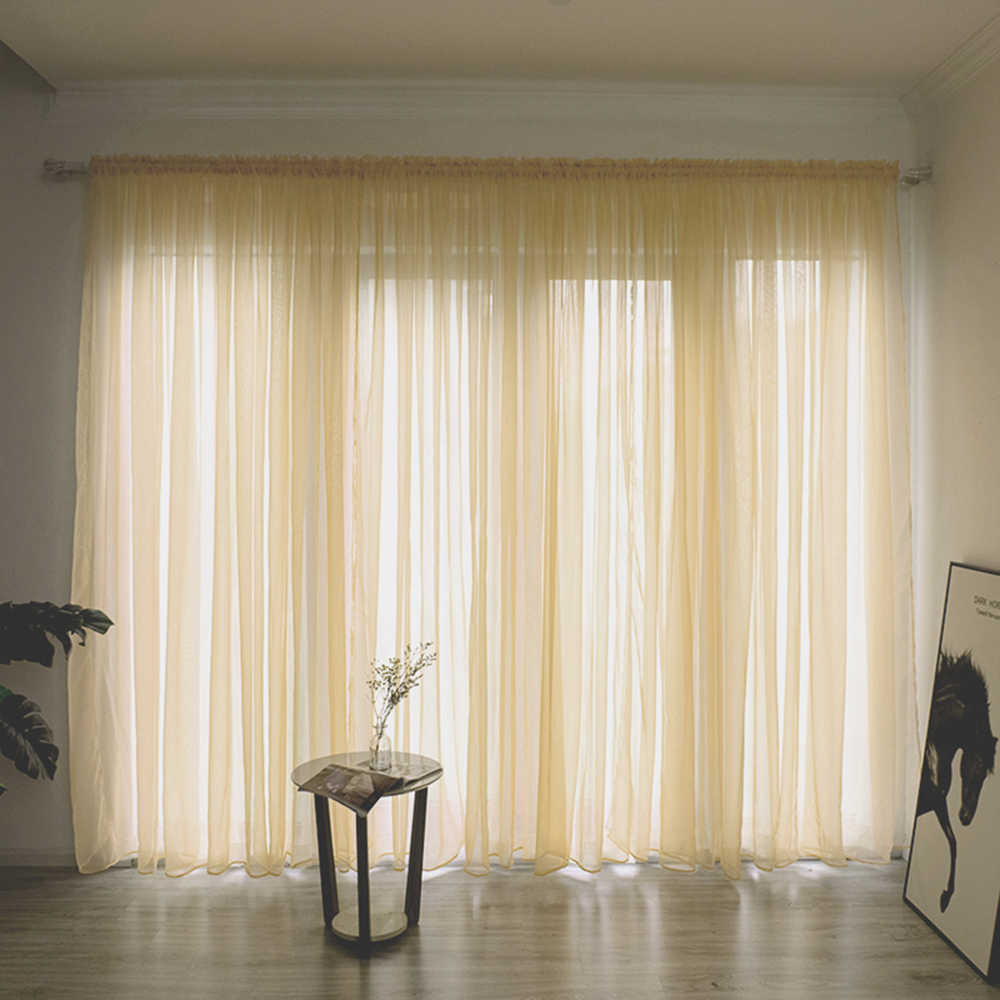 1PC Solid Color Line Curtain Window String Drape Panel Sheer Tulle Curtains For Living Room Bedroom Modern Window Treatments