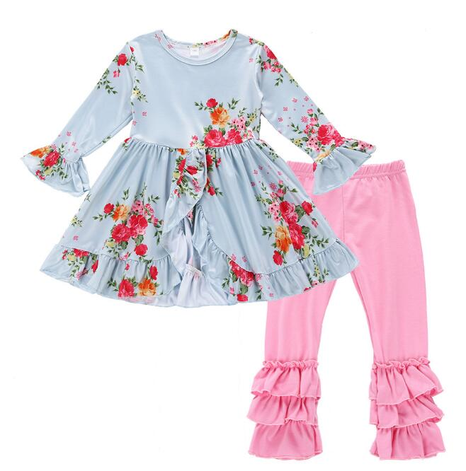 5a6f14ad8 Baby girls suit kids clothes 2 pc set star Floral dress+legging ...