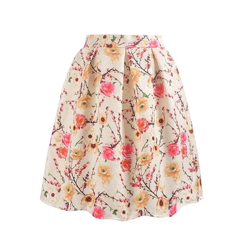 2016 New Fashion Women Skirt Summer Vintage Print Ball Gown Pleated High Waist Knee Length Saia Midi Skirt Women clothes