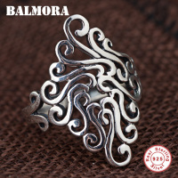BALMORA 100 Real 925 Sterling Silver Irregular Rings For Women Men Unique Design Resizable Ring Fashion