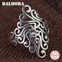 BALMORA 100 Real 925 Sterling Silver Irregular Rings For Women Men Unique Design Resizable Ring Fashion