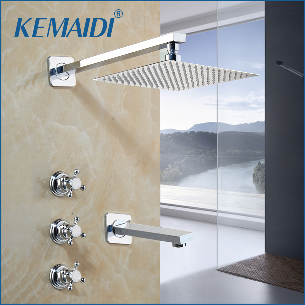 KEMAIDI Chrome Finished Shower Faucets Wall Mounted Shower Faucet Round Square Rainfall Shower Head Water Mixer