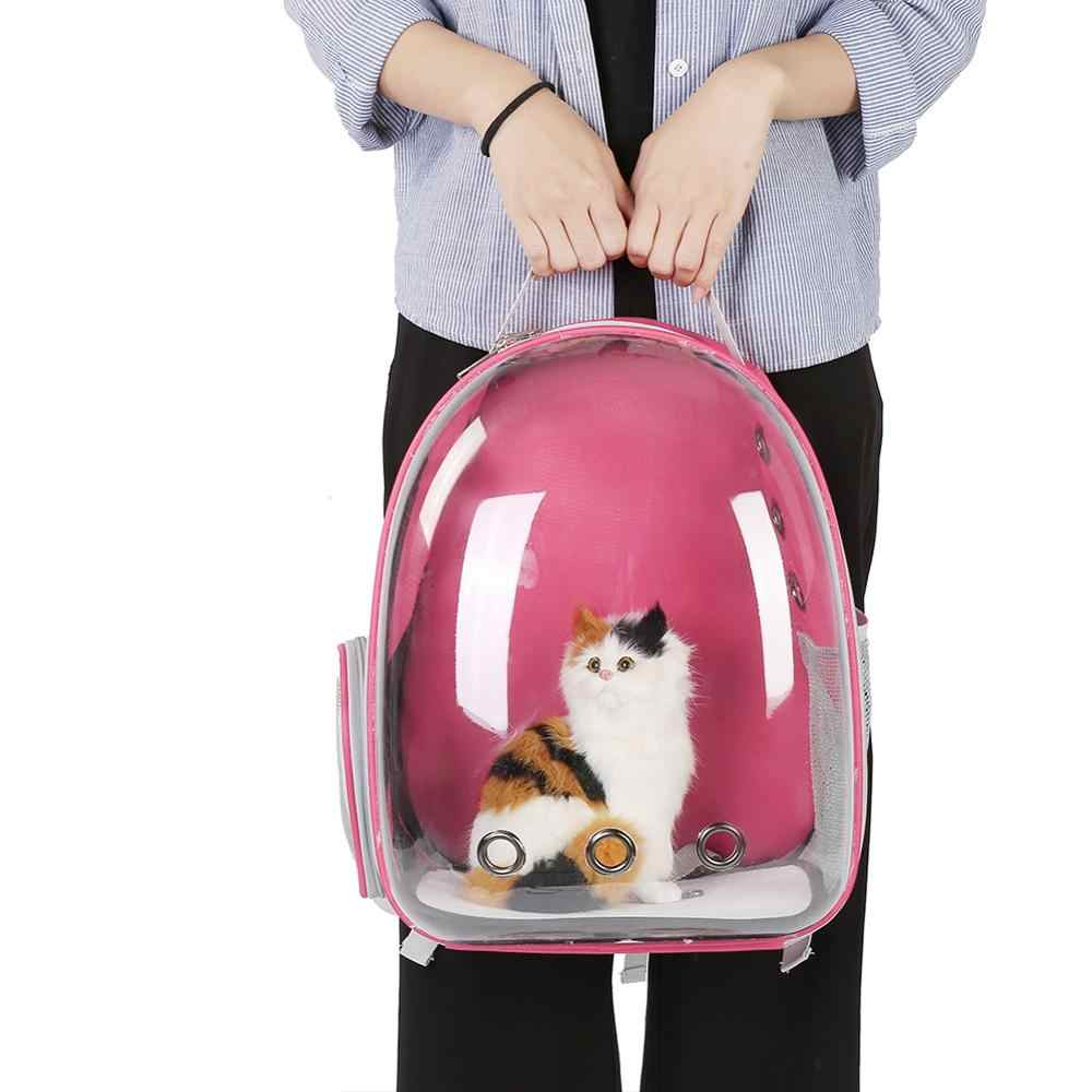 Beautiful Breathable Pet Cat Bag Portable Outdoor Travel Puppy Cat Backpack Transparent Space Cat Carrier