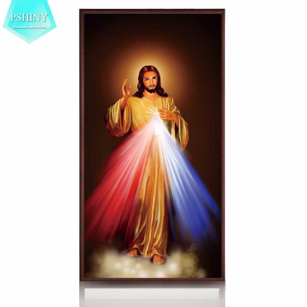 PSHINY 5D DIY Diamond embroidery Jesus Christ religion pictures Home Decor Full Mosaic Kit round rhinestone Painting cross stich