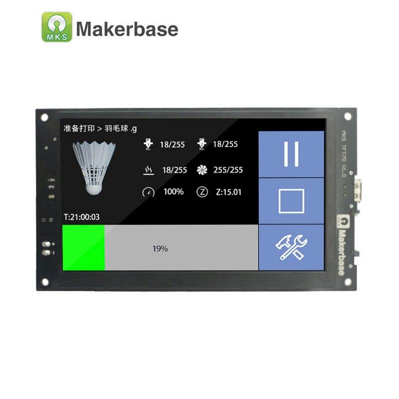 Affichage de l'imprimante 3D MKS TFT70 avec écran tactile de 7.0 pouces qui visionne le modèle gcode dans l'impression et prend en charge sept langues - 3