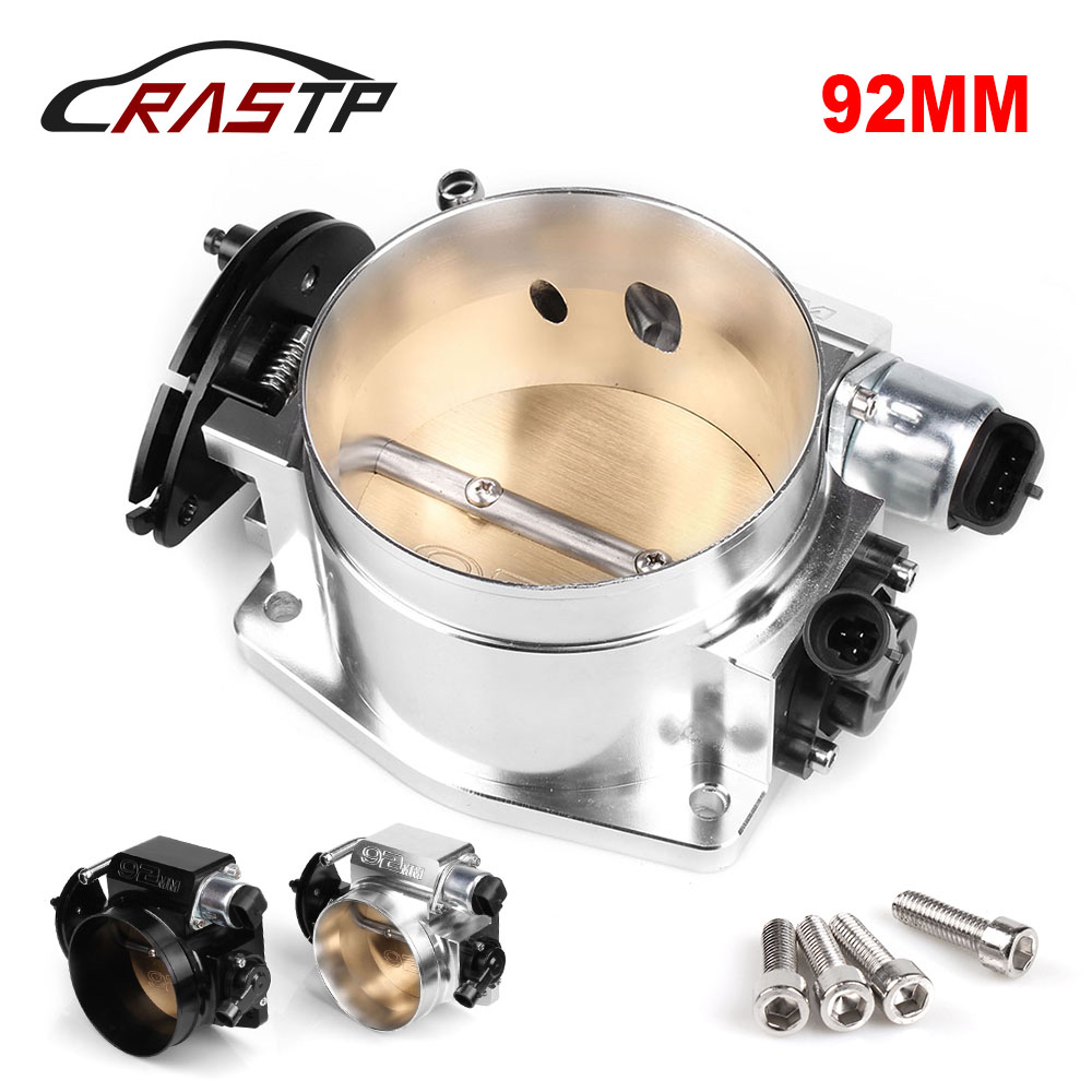 RASTP-High Quality 92mm Throttle Body with TPS Position Sensor Idle Air Control Silver Black RS-THB001-92mm
