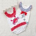 Caranguejo dos desenhos animados DO BEBÊ verão bodysuit Infantil Corpo Roupas Sem Mangas Macacão de algodão Impresso vestido Bodysuits Do Bebê Da Menina do Menino bonito