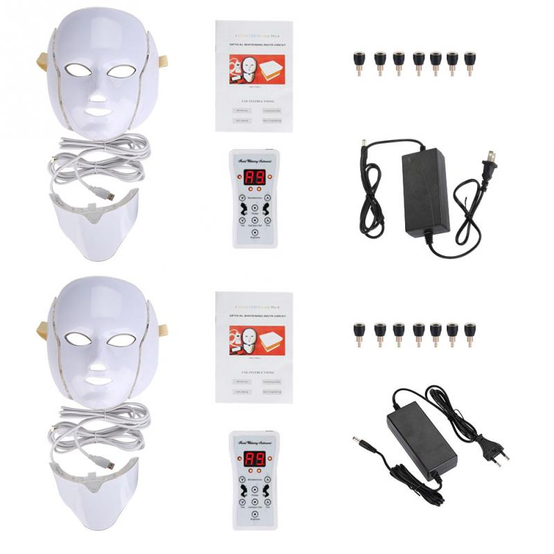 7 Colors LED Photon Therapy Mask Face Neck Anti Wrinkle Acne Removal Facial Skin Rejuvenation Machine Face Skin Care Tools deep face cleansing brush facial cleanser 2 speeds electric face wash machine