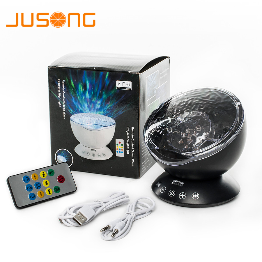 JUSONG noche Ocean Wave proyector altavoz reproductor de música LED Control remoto TF tarjetas Aurora maestro proyección niños USB