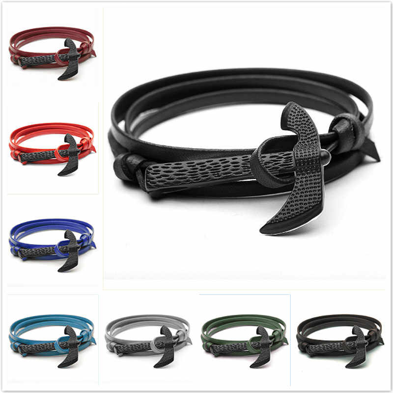 2019 New Fashion Axe Head kotwica bransoletki ze sznurków mężczyźni Survival Rope Chain metalowe haczyki sportowe