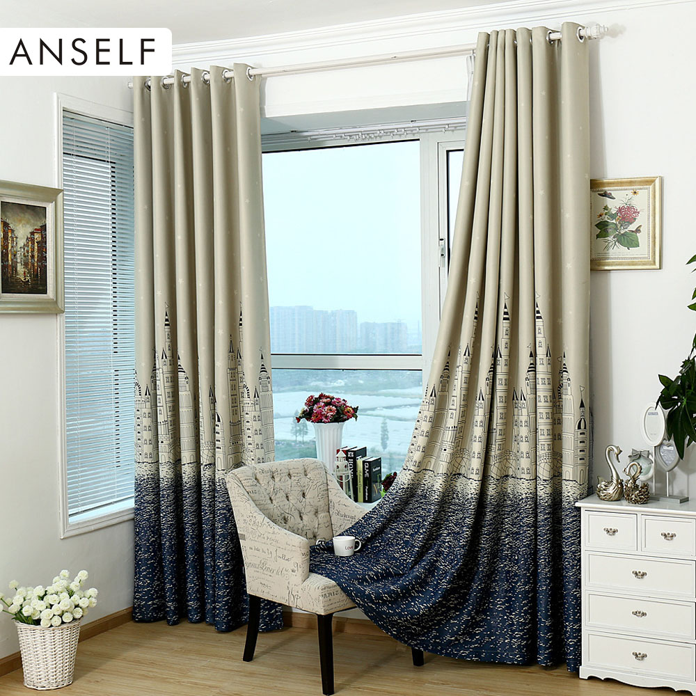 Curtain For Balcony: 2Pcs Curtain Punching Window Curtains Mediterranean