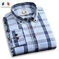Langmeng 2016 primavera outono cor sólida camisa dos homens da marca de manga comprida camisas de vestido ocasional slim fit mens100 % algodão xadrez camisas