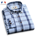 Langmeng 2016 spring autumn solid color casual shirt men brand long sleeve dress shirts slim fit mens100% cotton plaid shirts