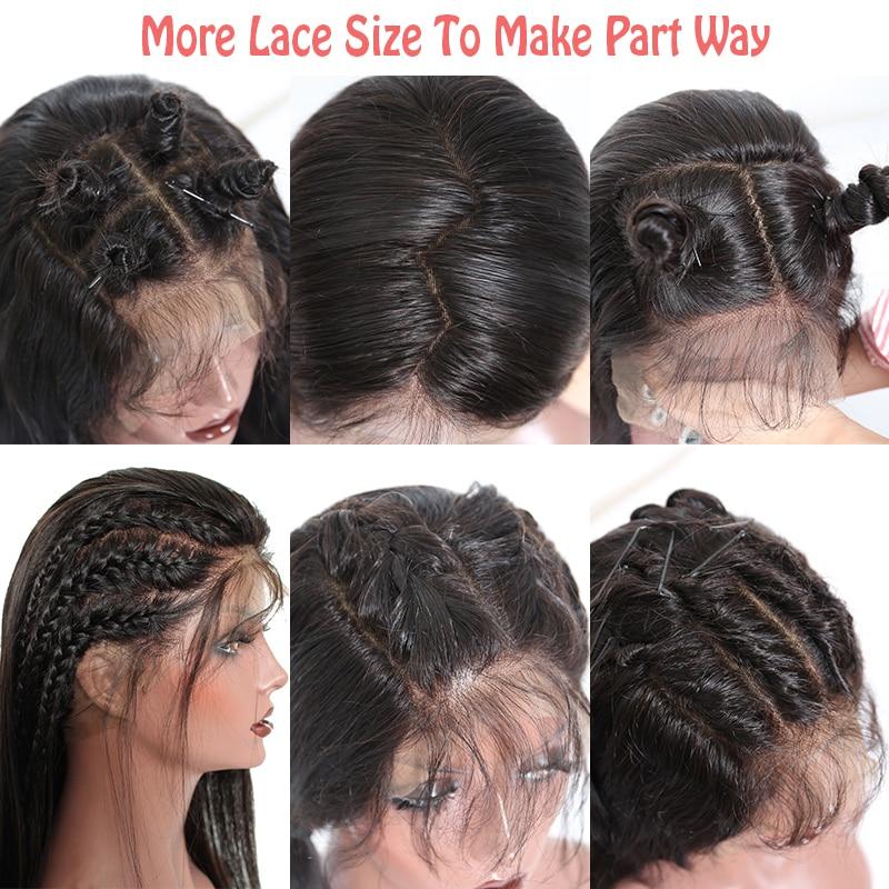 Pelucas del pelo humano del cordón lleno de Glueless recto para las - Cabello humano (negro) - foto 3