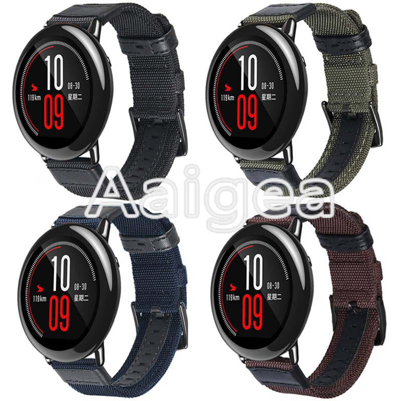 Woven Nylon Watch Strap For Huami Amazfit Pace Replacement Bracelet for amazfit bip Smart Watch Classic weaving Wrist watchbands huami amazfit pace replacement strap black green