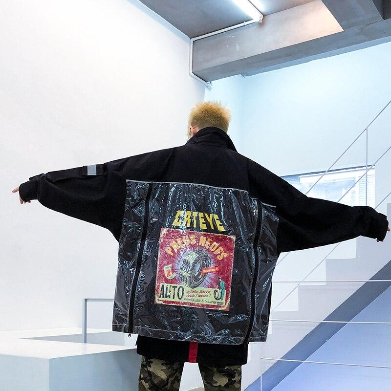 Réfléchissant La Hommes hop Travail Lâche À De Ins Hip Veste Gris Personnalité Mode Vêtements Nouveau Discothèque 2019 Avec Retour jRA354Lq