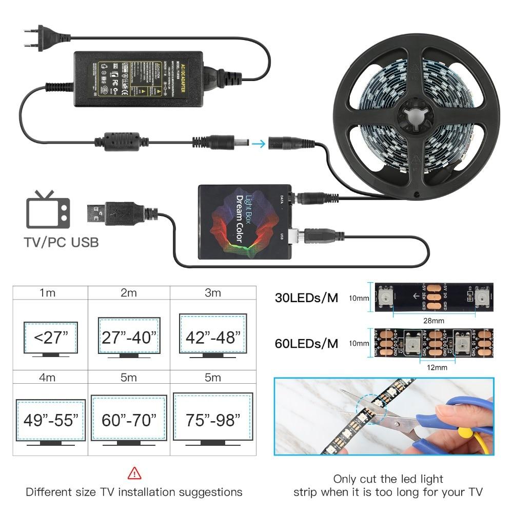 Image 2 - 1/2/3/4/5m Ambilight TV PC Backlight Dream Screen HDTV Computer Monitor USB LED Strip Addressable WS2812B LED Strip Full Set-in LED Strips from Lights & Lighting