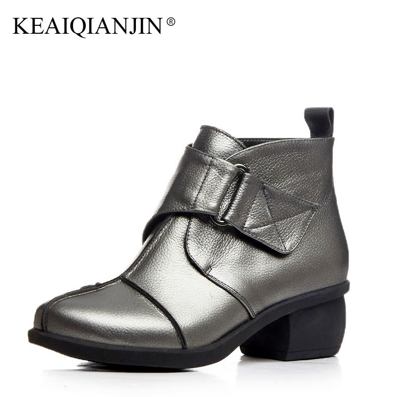 KEAIQIANJIN Woman High Heels Ankle Boots Black Silver Plus Size 34 - 44 Autumn Winter Shoes Genuine Leather Ladies Martens Boots lovexss genuine leather ankle boots large size 33 44 buckle pointed toe black silver woman shoes 2017 winter martens boots