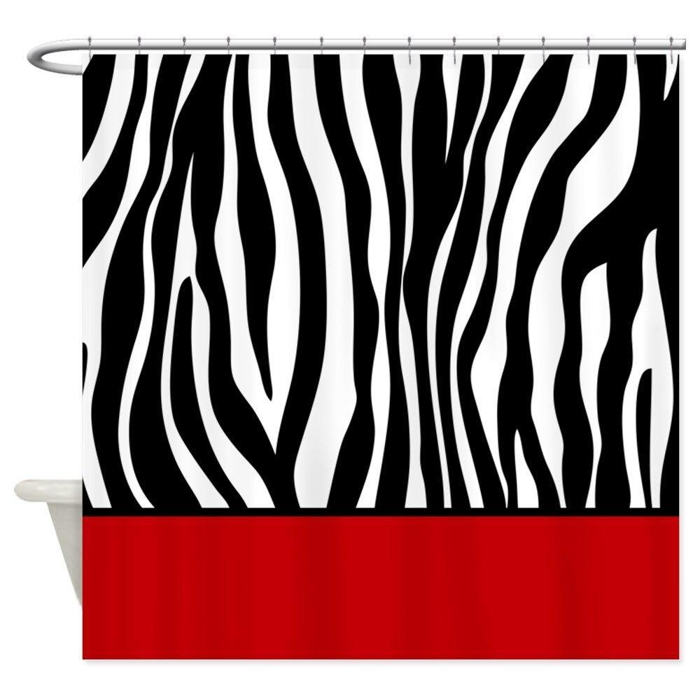 Zebra Pattern Red Stripe Shower Curtain Decorative Fabric Shower Curtain Set Non-Slip Bathroom Mats Home Room Doormat zwbra shower curtain