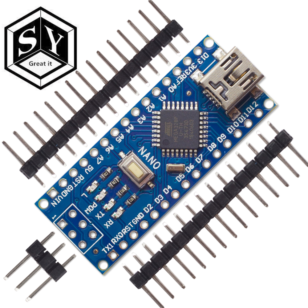 Mandalaa Mini Breadboard-Friendly USB Nano V3.0 Atmega328 5V Micro-Controller Board Voltage Regulator for Arduino-Compatible Tablecloth Clips