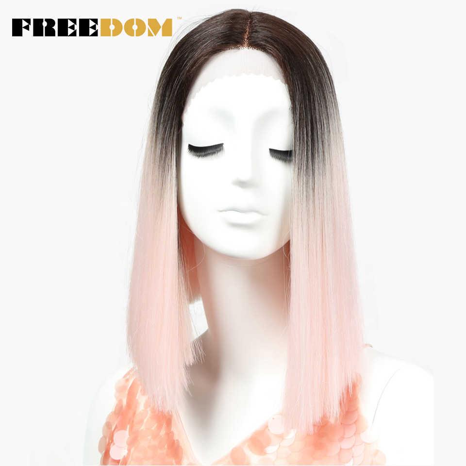 Свобода прямо синтетические волосы Синтетические волосы на кружеве и часть парик 14 дюймов парики розовый Ombre Парик Цвета выбор Косплэй парик Бесплатная доставка