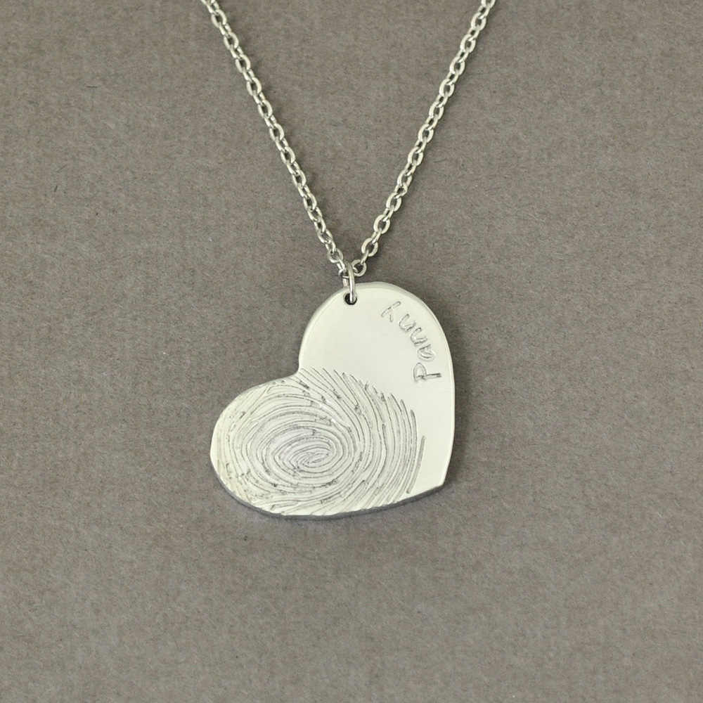 Personalized Fingerprint Necklace Name Necklace Heart Pendant Gift For Her Monthers Day Gift Christmas Gift Valentines Gift