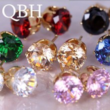 EK032 Brinco News CZ 8 Colors Bijoux Black Zircon Stud Earrings For Women Wedding Pendientes Girl