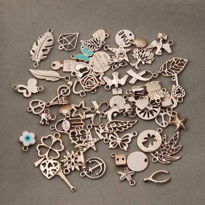 36pcs/lot Mixed Rose Gold Color Metal Floating Charms Handmade DIY European Charm for Bracelets & pendants Jewelry Making F2996