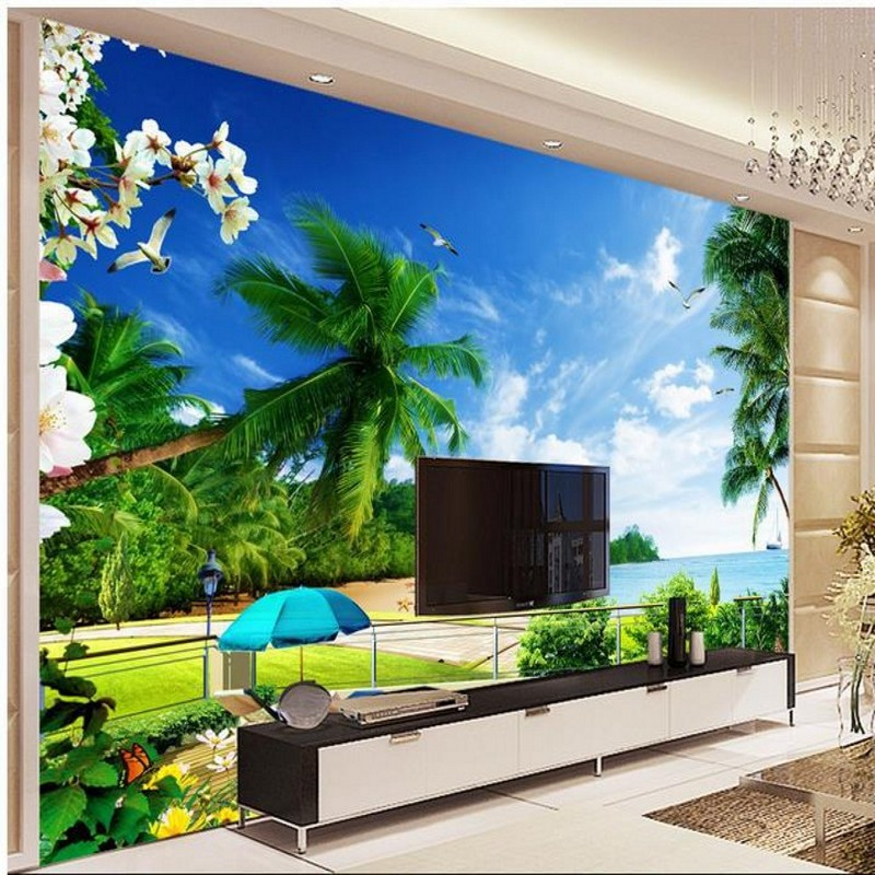 Beibehang 3d wall murals wallpaper beach views backdrop for Beach mural bedroom