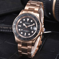 41mm Parnis Black dial Stainless Steel Sapphire glass Golden Deployment Clasp 21 jewels miyota Automatic movement Mens Watch