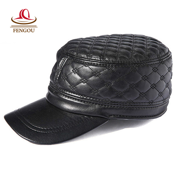 Fashion New Men's Genuine Leather Baseball Caps Black Leather Cap for Man Gorras Bone