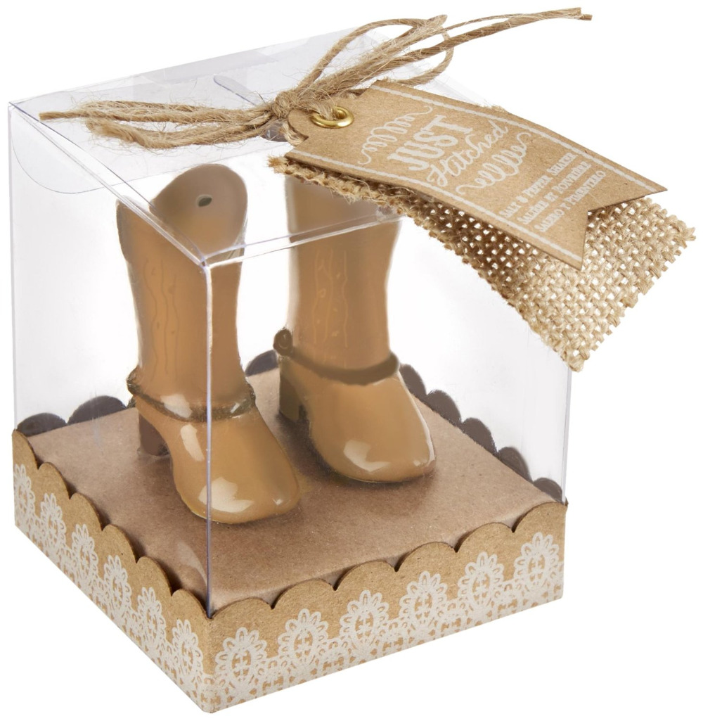 40Pcs=20Box Free Shipping 2016 Vintage Just Hitched Ceramic Cowboy Boot Wedding Salt and Pepper Shaker Favor Box Anniversaire
